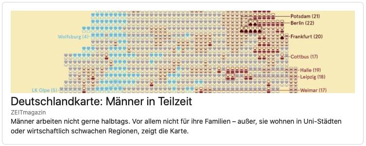 Zeitmagazin Deutschlandkarte Männer in Teilzeit